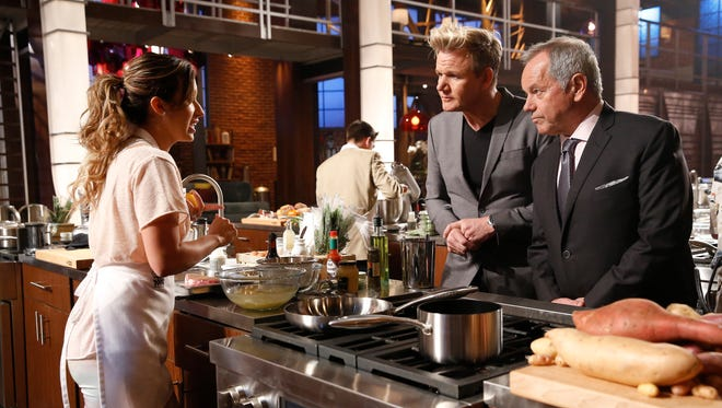 """MasterChef"" contestant Cassie Peterson talks to Gordon Ramsay and Wolfgang Puck in the ""Wolfgang Puck"" episode that aired on Wednesday, June 15."