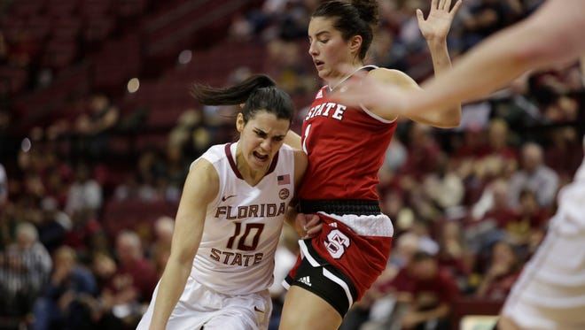 FSU guard Leticia Romero tries to get past NC State's Aislinn Konig during the Seminoles 70-61 loss to the Wolfpack.