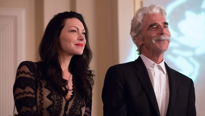 """In """"The Hero,"""" Lee (Sam Elliott) strikes up a relationship with Charlotte (Laura Prepon), a much-younger comic."""
