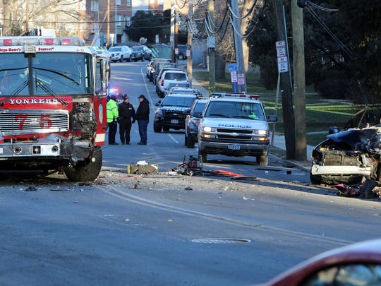 Off-duty Yonkers police Detective Frank Fernandez was killed early Feb. 14 when his SUV crashed into a fire truck on Palmer Road.