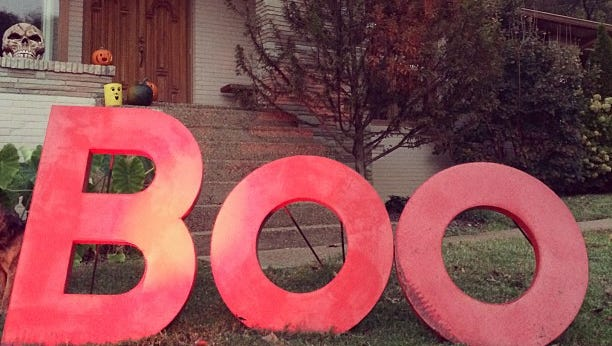 Jim Myers and his family put spooky messages on the lawn each year for Halloween.