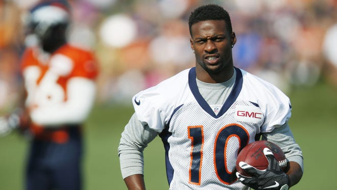 David Zalubowski/AP Denver Broncos wide receiver Emmanuel Sanders catches a pass during the team's training camp on Aug. 20 in Englewood, Colo. Denver Broncos wide receiver Emmanuel Sanders catches a pass during the team's NFL football training camp session early Thursday, Aug. 20, 2015, in Englewood, Colo. (AP Photo/David Zalubowski)