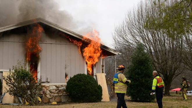 The Brentwood Fire Department conducts training exercises with a live structure fire at 315 Deerwood Lane on Feb. 18, 2017.