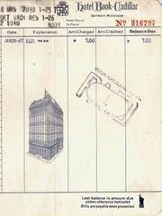 """The late Anthony Walch collected everything,"""" his wife, Fernanda said, including this receipt from their honeymoon at the Book Cadillac."""