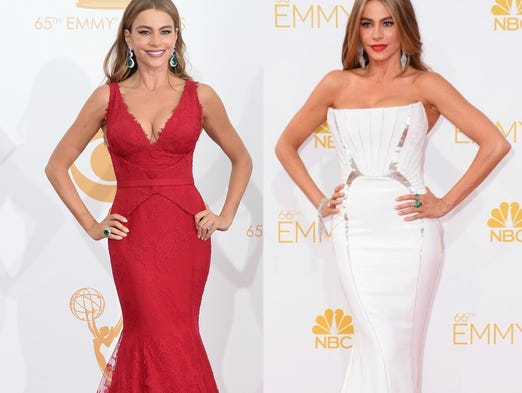 Sofia Vergara in 2013 (left) and 2014 at the Emmys.
