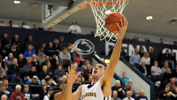 Canisius forward and Aquinas graduate Phil Valenti, shown in a game last year, scored a season-high 27 points in Thursday's 106-101 overtime win at St. Bonaventure.