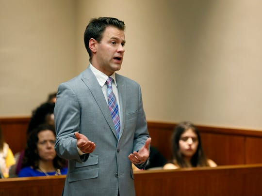 Assistant District Attorney Lach Maurer speaks during the hearing for Judge Leticia Astacio at the Hall of Justice.