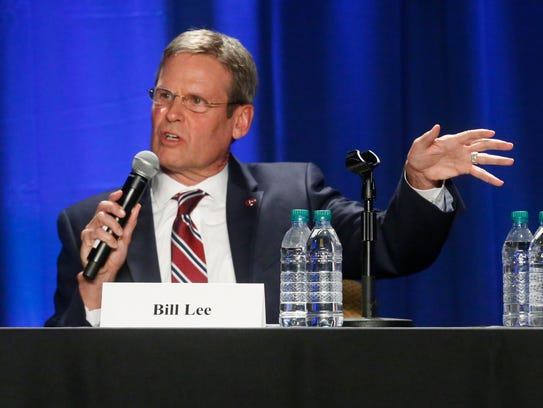 Republican Bill Lee answers questions during the Gubernatorial Candidates' Forum on health care Tuesday, Feb. 27, 2018, at Trevecca Nazerene University.
