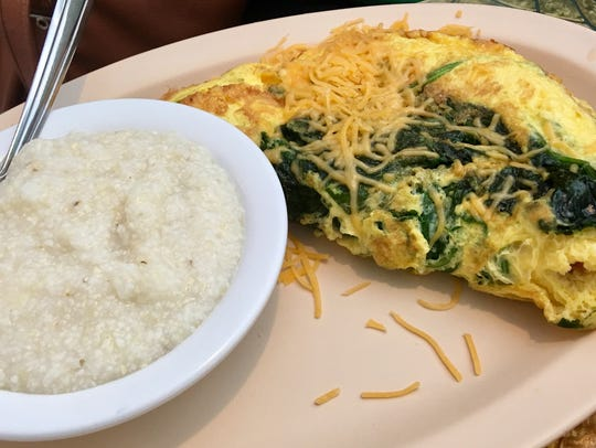 The spinach and cheddar omelet at Lily's Beachside
