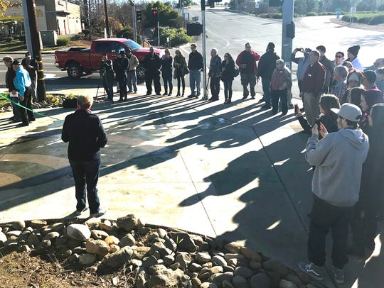About 50 people gathered at the city of Shasta Lake's