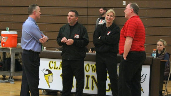 Clarkstown South head coach Brian Metcalf, left, and