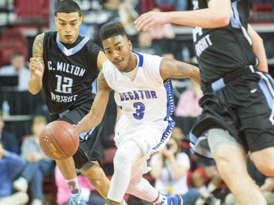 Stephen Decatur point guard Torrey Brittingham (3) works up court against C.M. Wright in the MPSSAA 3A State Championship on Saturday, March 12 at the Xfinity Center in College Park.