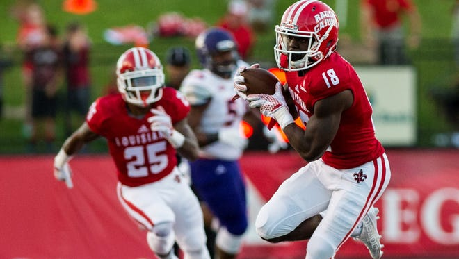UL receiver Devin Scott (18), shown here in a 2015 game against Northwestern State, is out for 2016 with a knee injury.