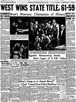 The front page of the Rockford Morning Star after West High won the 1955 state title in dramatic fashion.