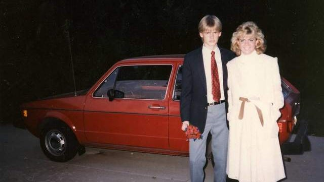 Kimberly Dowell and Ethan Dixon pose for a photo in 1985. The couple are standing in front of the car they were shot inside later that year in Muncie's Westside Park.