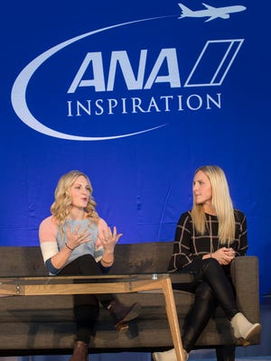 From left, U.S. gold medalists for the women's national hockey team, Jocelyne Lamoureux-Davidson and Monique Lamoureux-Morando speak at the ANA Inspiring Women in Sports Conference at Mission Hills Country Club on March 27, 2018.
