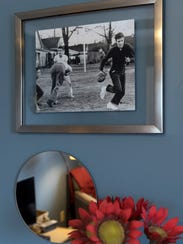 The photograph of a young Elvis playing football was