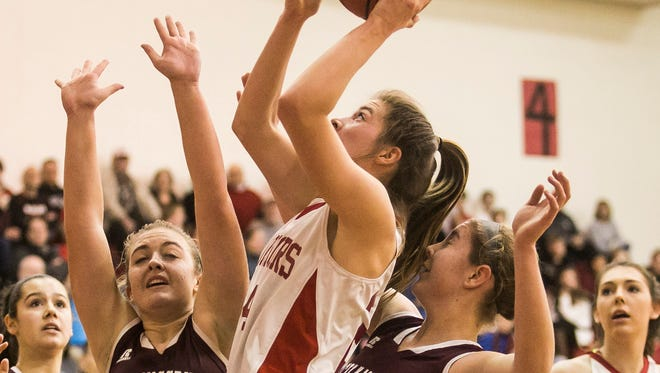 Susquehannock's Tyler Williams (24), goes up for a shot during the second half of a District 3 Class 5-A girls basketball first round game, against Mechanicsburg, Tuesday, Feb. 21, 2017, at Susquehannock High School. Susquehannock defeated Mechanicsburg 51-27. Amanda J. Cain photo