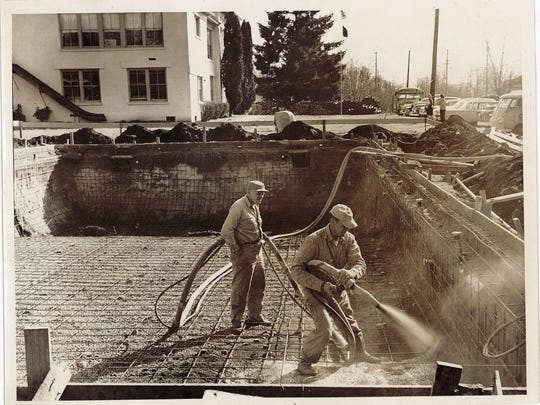 Construction tasks while building Turner's Burkland Pool, which opened in 1964.