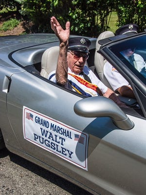 Grand Marshall Walt Pugsley of Randolph at the Annual Randolph Kiwanis Freedom Festival Parade in Randolph, June 30, 2018.  Photo by Warren Westura for the Daily Record.