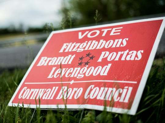 A sign encourages voters in Cornwall Borough to vote Steven Levengood, Anthony Fitzgibbons, Alfred Brandt, Jr., and Louis Portas, Jr. in the upcoming primary election. Levengood has been charged with felony aggravated assault.