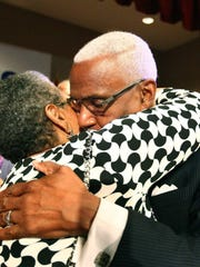 MemphisMayor A C Wharton embraces his wife, Ruby, after
