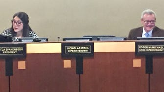 Carmel Clay Superintendent Nicholas Wahl's seat remains empty during a November school board meeting. Wahl was put on paid leave in October pending a review of district leadership.