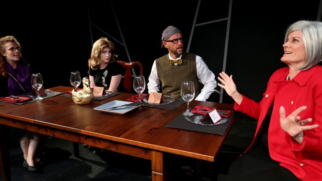 "Christa Karschnia, from left, Kate Thompson, Jeff Sanders and Jodi Deming star in ""Dead Man's Cell Phone"" by Sarah Ruhl and directed by Jenni Bertels. The Verona Studio production runs Sept. 17-Oct. 3 at the Reed Opera House."