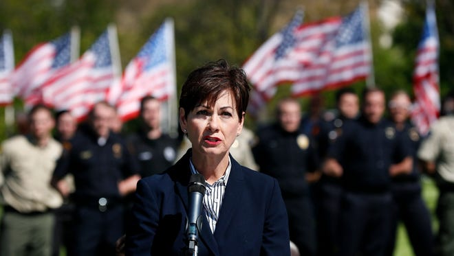 Iowa Lt. Gov. Kim Reynolds speaks during the Iowa Peace Officer Memorial Ceremony, Friday, May 5, 2017, in Des Moines. The ceremony honors Iowa peace officers who have died in the line of duty.
