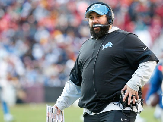 Nov 24, 2019; Landover, MD, USA; Detroit Lions head coach Matt Patricia stands on the sidelines against the Washington Redskins in the third quarter at FedExField. Mandatory Credit: Geoff Burke-USA TODAY Sports