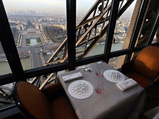 This file photo shows a table at the Jules Verne restaurant