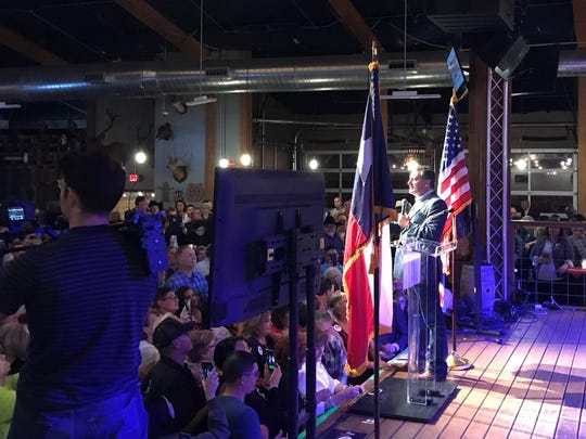U.S. Sen. Ted Cruz speaks at his campaign railly at the Redneck Country Club in Stafford, Texas, on April 2, 2018.