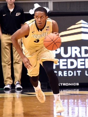 Purdue forward Basil Smotherman brings the ball up the court against Grambling in the first half Thursday night.