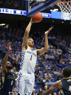 UK's Sacha Killeya-Jones (1) scores on a put back against Clarion during their game at Rupp Arena.