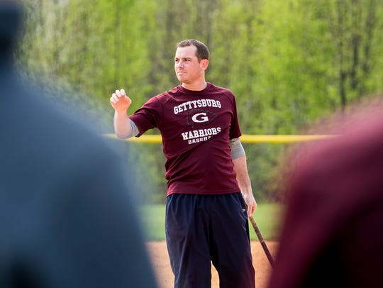 Gettysburg baseball head coach Ryan Brady conducts