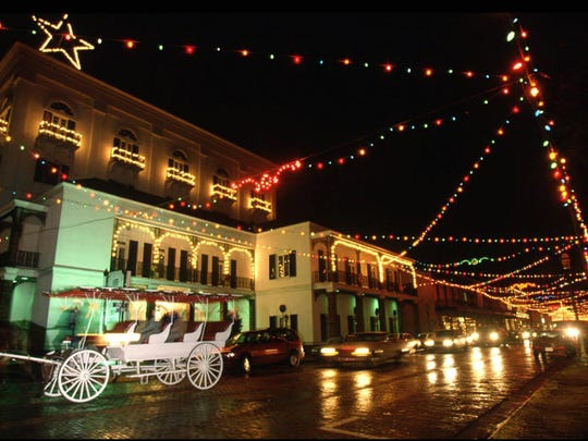 Christmas lights in downtown Natchitoches.