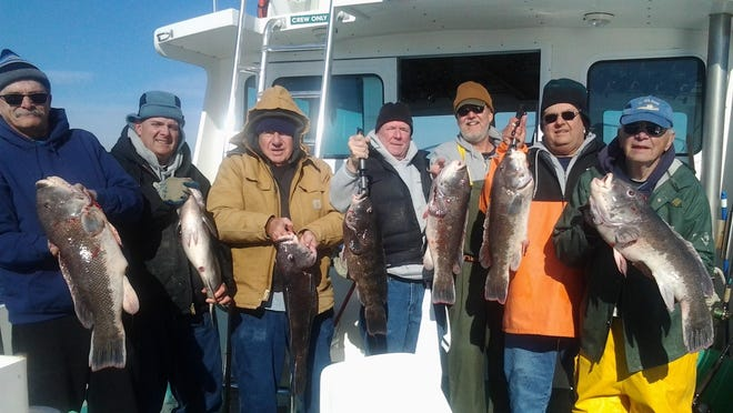 Capt. Charlie Donilon of Snappa Charters, Point Judith, takes this New York group tautog fishing every fall. Donilon will speak during a Saltwater Anglers videoconference seminar on Sept. 28.