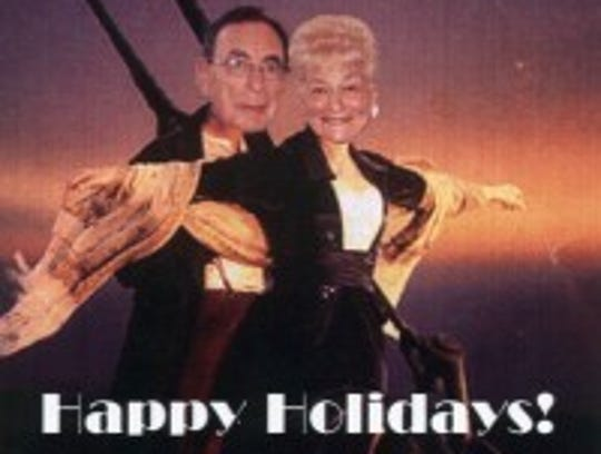 "A  holiday card with the ""unsinkable"" Bernice and Harry"