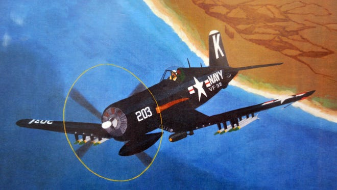 This rendition of a Vought f4U Corsair flown by Jesse Brown, the nation's first black naval aviator, was done by aviation artist Clint Martin.