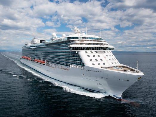 Princess Cruises' 3,560-passenger Regal Princess undergoes sea trials in the Adriatic Sea in April 2014.