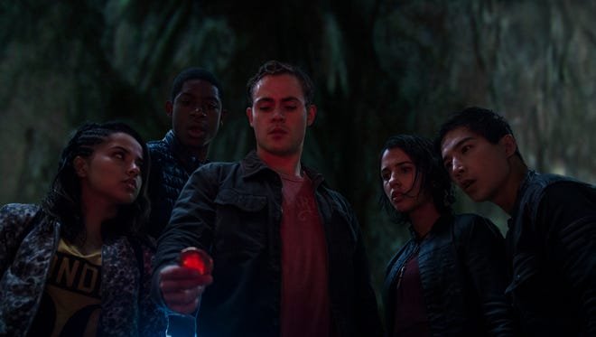 "From left, Trini (Becky G), Billy (RJ Cyler), Jason (Dacre Montgomery), Kimberly (Naomi Scott), and Zack (Ludi Lin) in ""Power Rangers."""