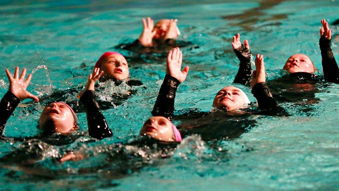 The York Synchro~ettes swim to Michael Jackson's Thriller during a dress rehearsal for their performance of Beauty and the Beast at YWCA in York City, Thursday, Sept. 28, 2017. The Synchro-ettes will serve as the team host team for the 2018 USA Synchronized Swimming East Zone Championships next June. Dawn J. Sagert photo