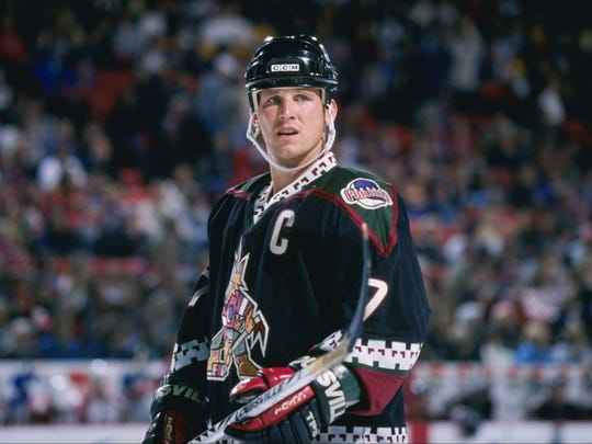 Keith Tkachuk of the Phoenix Coyotes looks on during