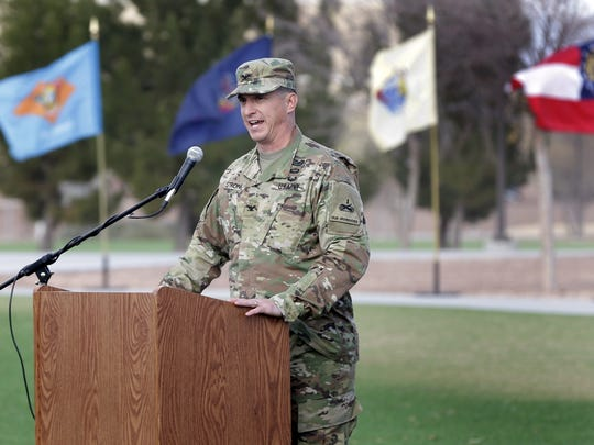 1st Brigade commander Col. Eric S. Strong addressed his soldiers at the casing ceremony Jan. 6 at Fort Bliss.