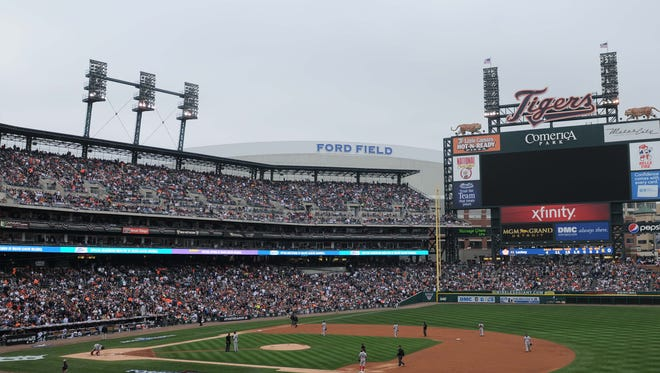 Game 3 was halted after a power outage at Comerica Park in the second inning.