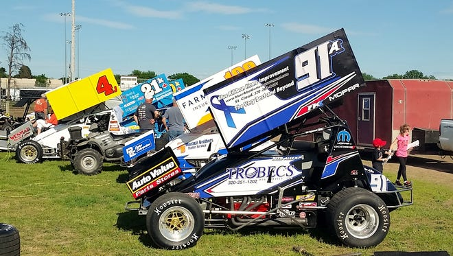 The car that St. Cloud driver Reed Allex will use to compete in Tuesday's World of Outlaws stop at Granite City Speedway.