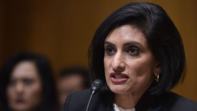 Seema Verma testifies before the Senate Finance Committee on her nomination to be the administrator of the Centers for Medicare and Medicaid Services on Feb. 16, 2017.
