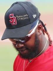 Boston Red Sox Hanley Ramirez honors the victims of
