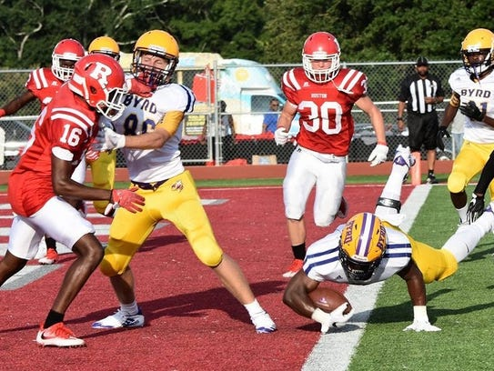 Byrd's Jalin Thomas dives for the end zone against