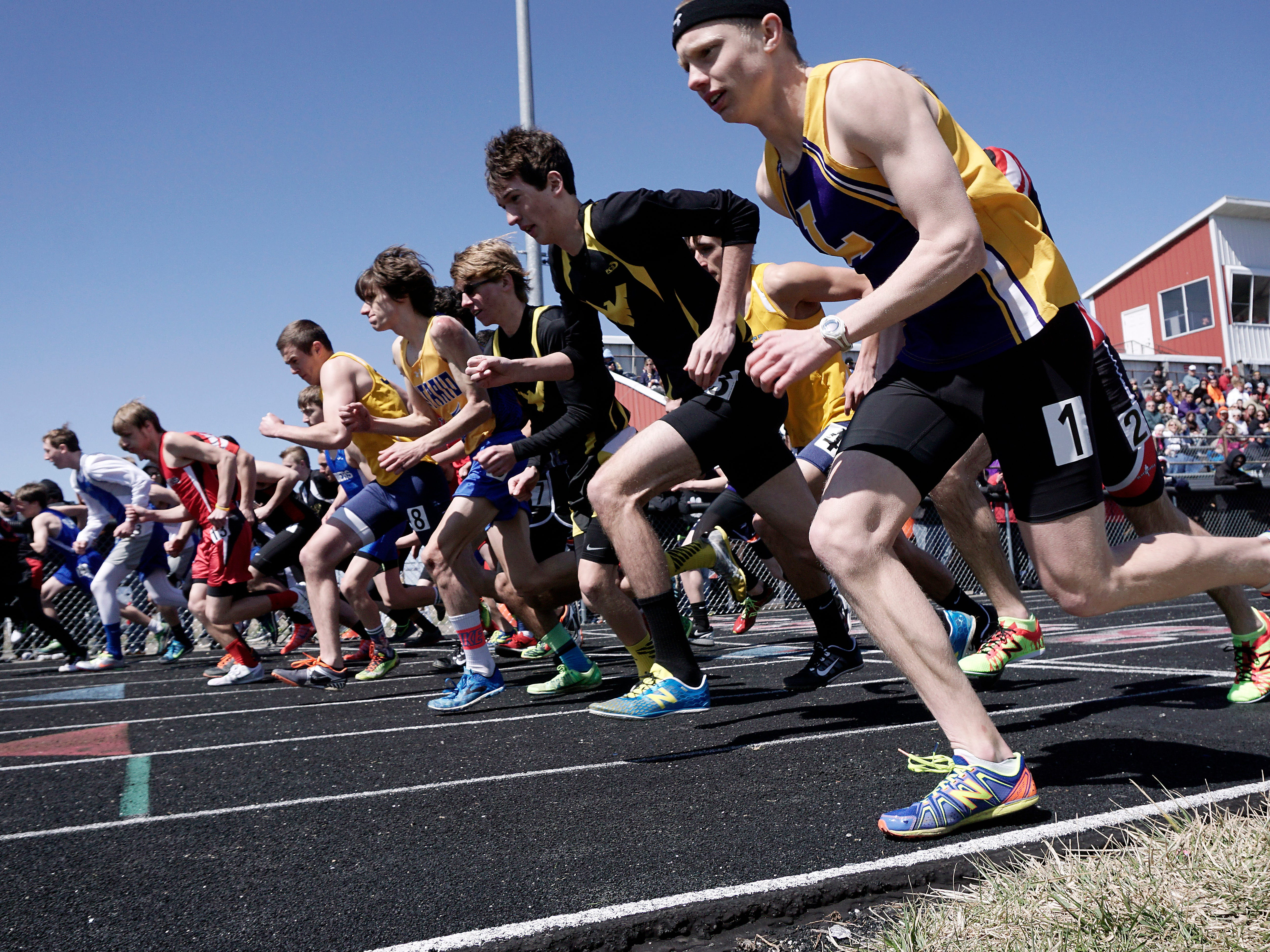 The start of the Boys 100 Meter Run during the Bucyrus Elks 156 Track Invitational Saturday at Bucyrus High School.